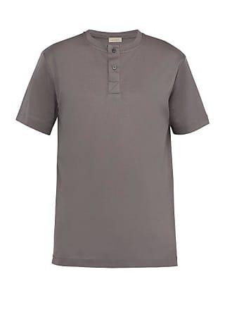 Zimmerli Cotton Jersey Henley T Shirt - Mens - Grey