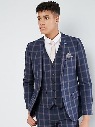 0dc715c22462a Harry Brown TALL Slim Fit Blue Check Windowpane Suit Jacket