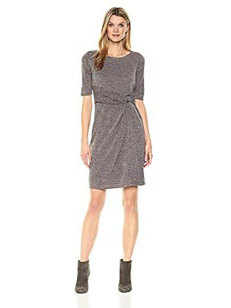Ellen Tracy Womens 3/4 Sleeve Knit Dress with Waist Detail, Taupe, 8