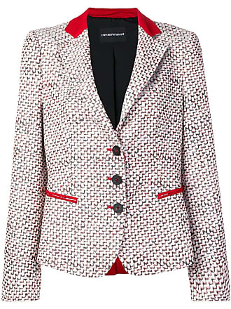 Emporio Armani patterned blazer jacket - White