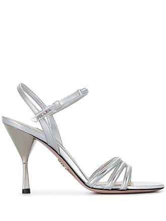 acb2ffaed74 Prada logo plaque metallic sandals - Silver