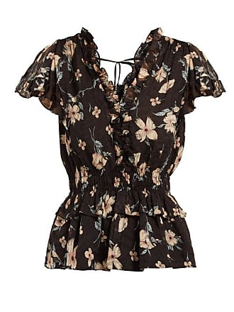 4a2af9f5039d80 Rebecca Taylor Floral Print Ruffled Silk Blend Blouse - Womens - Black Multi
