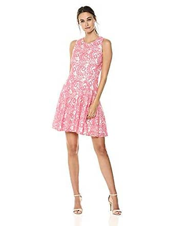 43a33b12f37 Tommy Hilfiger Womens Sleeveless lace fit and Flare Dress, Coral/Ivory, 4