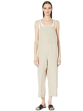 Eileen Fisher Organic Linen Cropped Jumpsuit (Undyed Natural) Womens Jumpsuit & Rompers One Piece