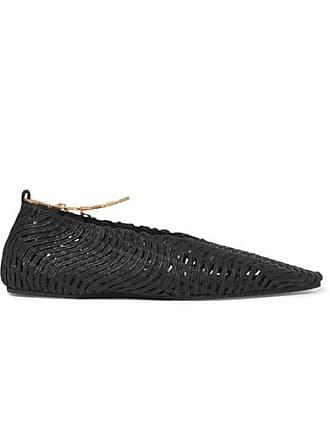 42c24cfc3 Stella McCartney Embellished Woven Cotton Point-toe Flats - Black