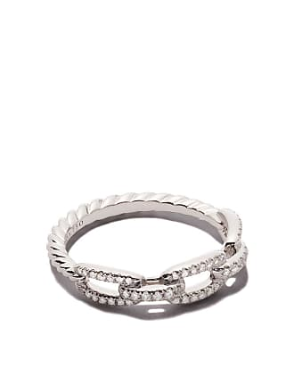 5e2282a534 David Yurman 18kt white gold Stax single row pavé diamond chain link ring -  8Wadi