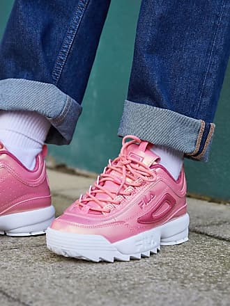 Fila Disruptor II trainers in metallic pink patent