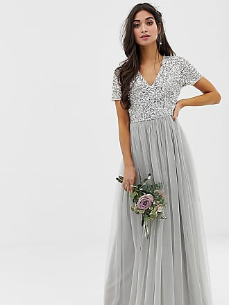 defd4d8f6f90 Maya Bridesmaid v neck maxi tulle dress with tonal delicate sequins in soft  grey