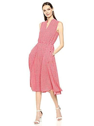 Anne Klein Womens Drawstring MIDI Dress, Poppy/Anne White, S