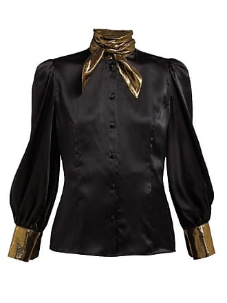Edeltrud Hofmann Nico High Neck Silk Blouse - Womens - Black Gold