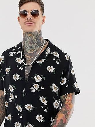 Asos regular fit floral shirt with revere - Black