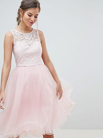 Chi Chi London Midi Tulle Prom Dress with Premium Lace Bodice - Pink