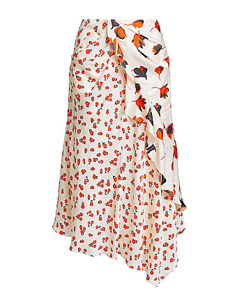 Self Portrait Floral Asymmetric Ruched Midi Skirt Red/white