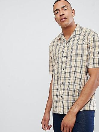 Asos Camisa de corte cuadrado y extragrande con diseño a cuadros en marrón  y cuello de 50dc2f1f5e48
