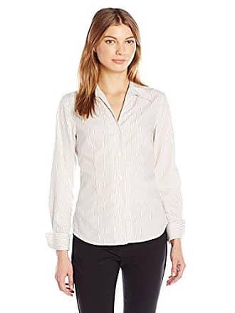 Calvin Klein Womens Long Sleeve Wrinkle Free Button Down, Khaki/White, 14