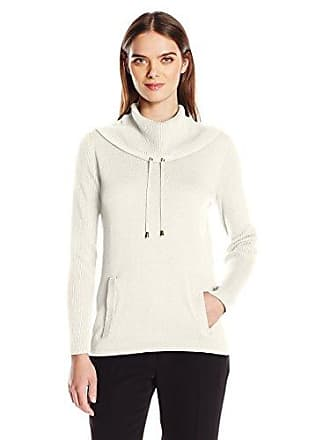 Jones New York Womens Pullover Drawcord Cowl Neck, Ivory, S