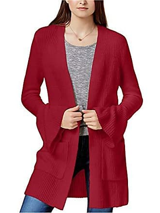 Kensie Womens Warm Touch Open Cardigan with Bell Sleeve, deep red, XS