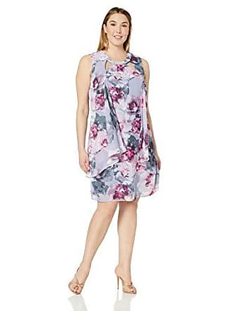 S.L. Fashions Womens Plus Size Sleeveless Cutout Dress with Pearl Neckline, Lilac Multi, 18W
