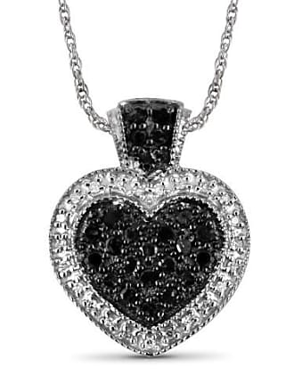 JewelersClub JewelersClub 1/2 Carat T.W. Black and White Diamond Heart Sterling Silver Pendant
