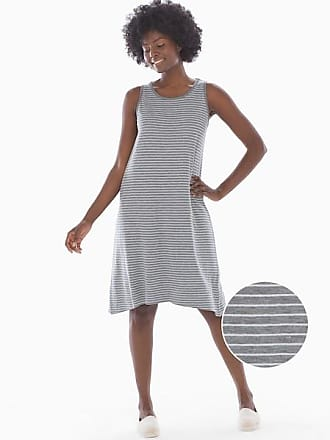 Soma Reversible Cotton Blend Sleeveless Tank Dress Zen Stripe Hthr Charcoal, Size XXL