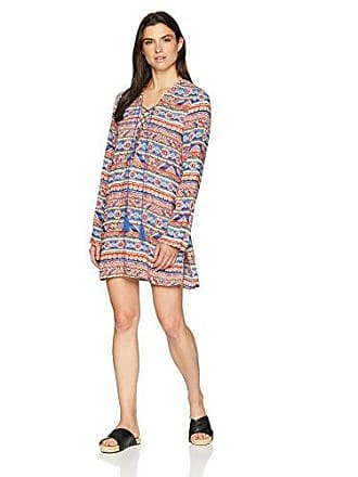 La Blanca Womens Lace Front Cover Up Tunic Dress, Blue/Red/Orange, Extra Small