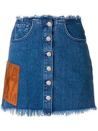 7 For All Mankind frayed hem denim skirt - Azul