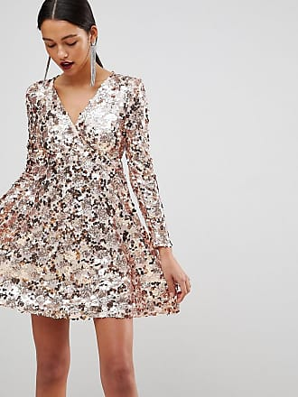 Club L Club L Rose Gold Mini Disc Sequins Wrap Over Skater Dress - Gold