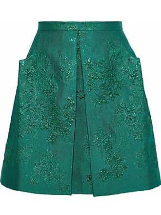 22279606b5 Delpozo Delpozo Woman Pleated Brocade Mini Skirt Emerald Size 38