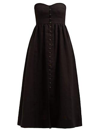 Mara Hoffman Mercedes Strapless Corseted Midi Dress - Womens - Black