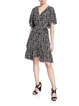 Max Studio Floral-Print Ruffle-Trim Wrap Dress