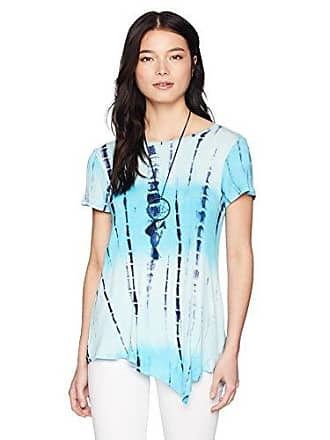 Oneworld Womens Petite Short Sleeve Tie Dye Top with Necklace, Aqua, PXL