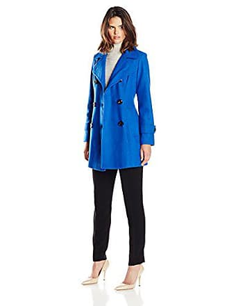 1386fe2d92682e Anne Klein Womens Classic Double Breasted Wool Coat, River Blue, X-Small