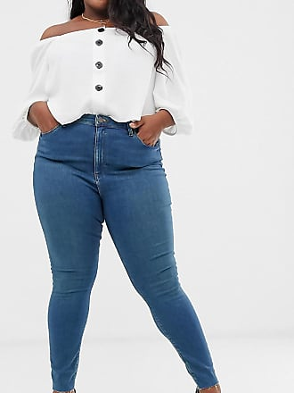 2113cc6ca9d Asos Curve ASOS DESIGN Curve Ridley high waisted skinny jeans in aged wash  blue with raw