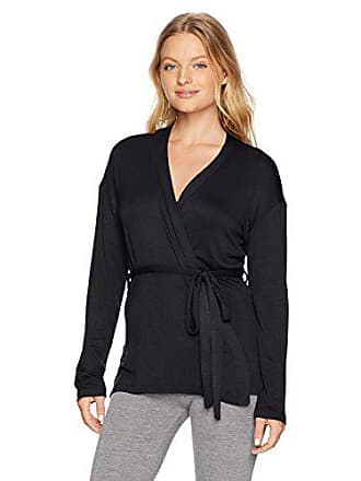 Maidenform Womens Organic Architecture Wrap Cardigan, Jet Black Small