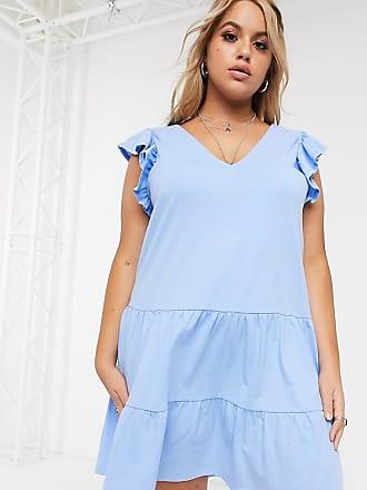 Asos Curve ASOS DESIGN Curve - Vestito grembiule a balze in chambray con scollo a V e maniche a volant-Blu