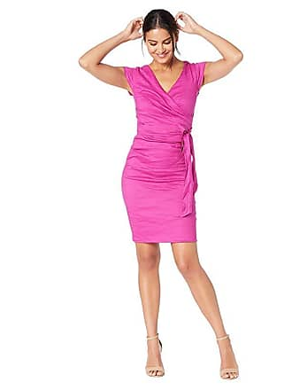 Nicole Miller Solid Cotton Metal Cap Sleeve Wrap Dress (Razzmatazz) Womens Clothing