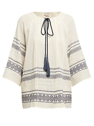 Zeus + Dione Aegina Embroidered Cotton Blend Blouse - Womens - Ivory Multi