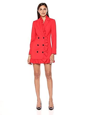C/Meo Collective Womens You or Me Long Sleeve Blazer Dress with Ruffle Detail, Cherry, S