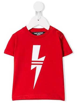 Neil Barrett Camiseta com estampa de relâmpago - Vermelho