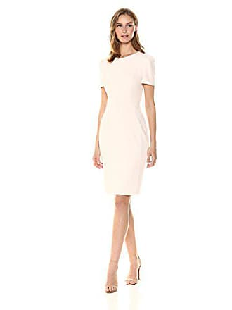 Calvin Klein Womens Short Sleeved Princess Seamed Sheath Dress, Blossom, 8