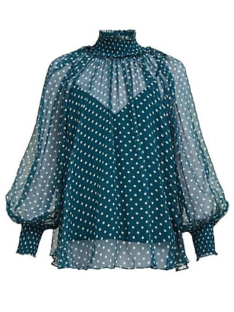 9c972f25ca5060 Zimmermann Moncur High Neck Polka Dot Silk Blouse - Womens - Green Multi