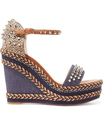 8e84b2f9a6 Christian Louboutin Madmonica 110 Spiked Denim And Leather Espadrille Wedge  Sandals - Mid denim