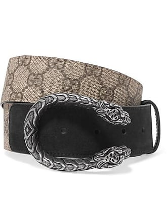 4cd3a398714 Gucci Dionysus Printed Coated-canvas And Suede Belt - Beige