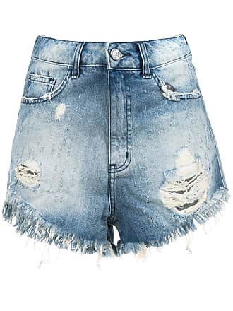 Pop Up Store Short jeans com desfiados - Azul