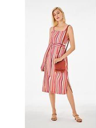 Lebôh Vestido Midi Decote Quadrado Com Bolso Rosa P