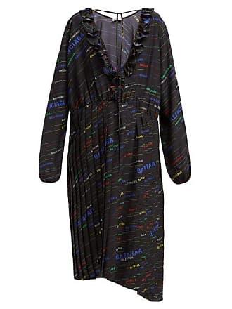 6b2281cb04a0 Balenciaga Logo Print Pleated Silk Crepe Midi Dress - Womens - Black Multi