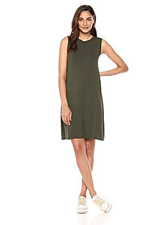 Daily Ritual Womens Jersey Muscle Swing Dress, Forest Green, Medium
