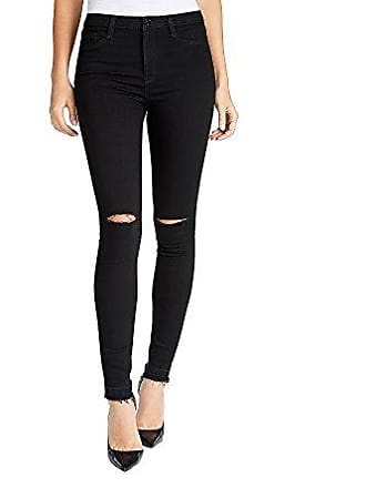 William Rast Womens Sculpted High Rise Skinny Jean, Black/Knee Slits, 24