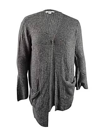 Kensie Womens Warm Touch Open Cardigan with Bell Sleeve, Heather Dark Grey, XL