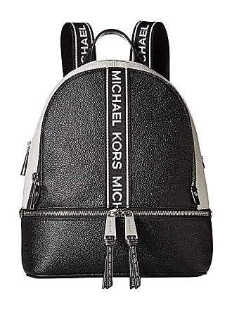 97b64d84776b2 Michael Kors Rhea Zip Medium Backpack (Black Optic White) Backpack Bags